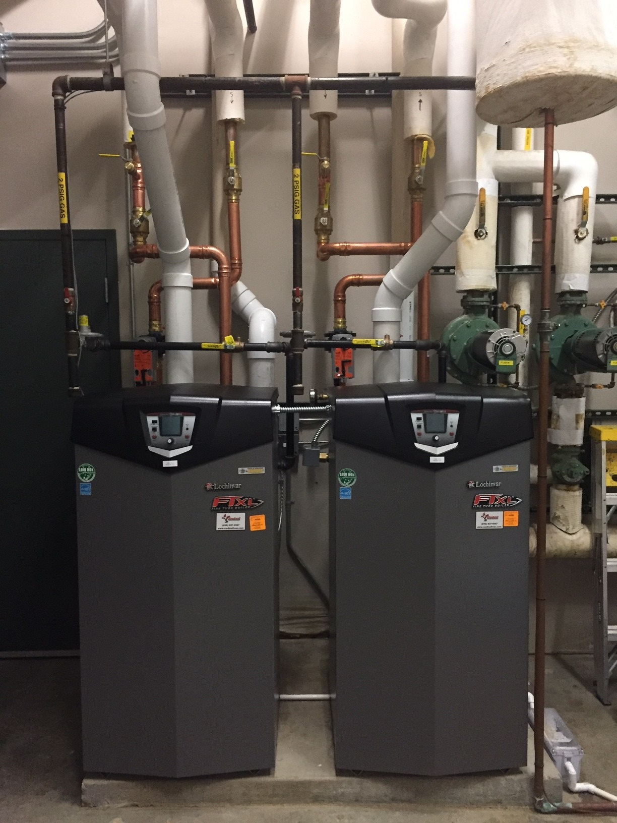 New boilers installed during Door Creek Church's project with Focus on Energy and Cardinal Heating & Air Conditioning