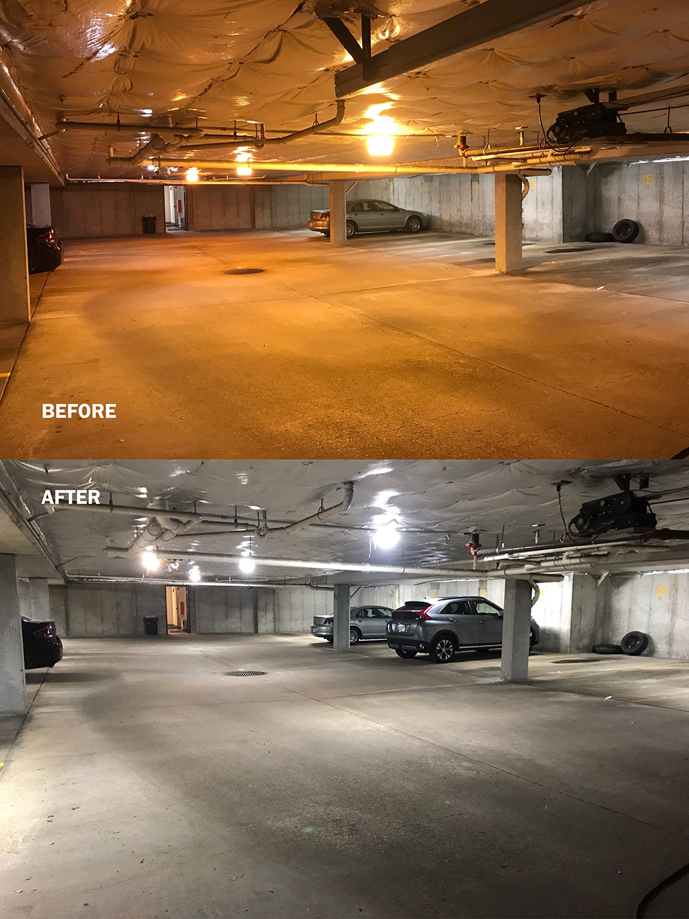 "Two pictures of an indoor parking garage are juxtaposed, with the words ""before"" and ""after"" written on them. One image shows darker lighting and the other shows brighter, more illuminated lighting."